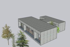 住み継ぐ「コンクリート打放し H型プランの平屋」‐4‐ソリッド感と透明感